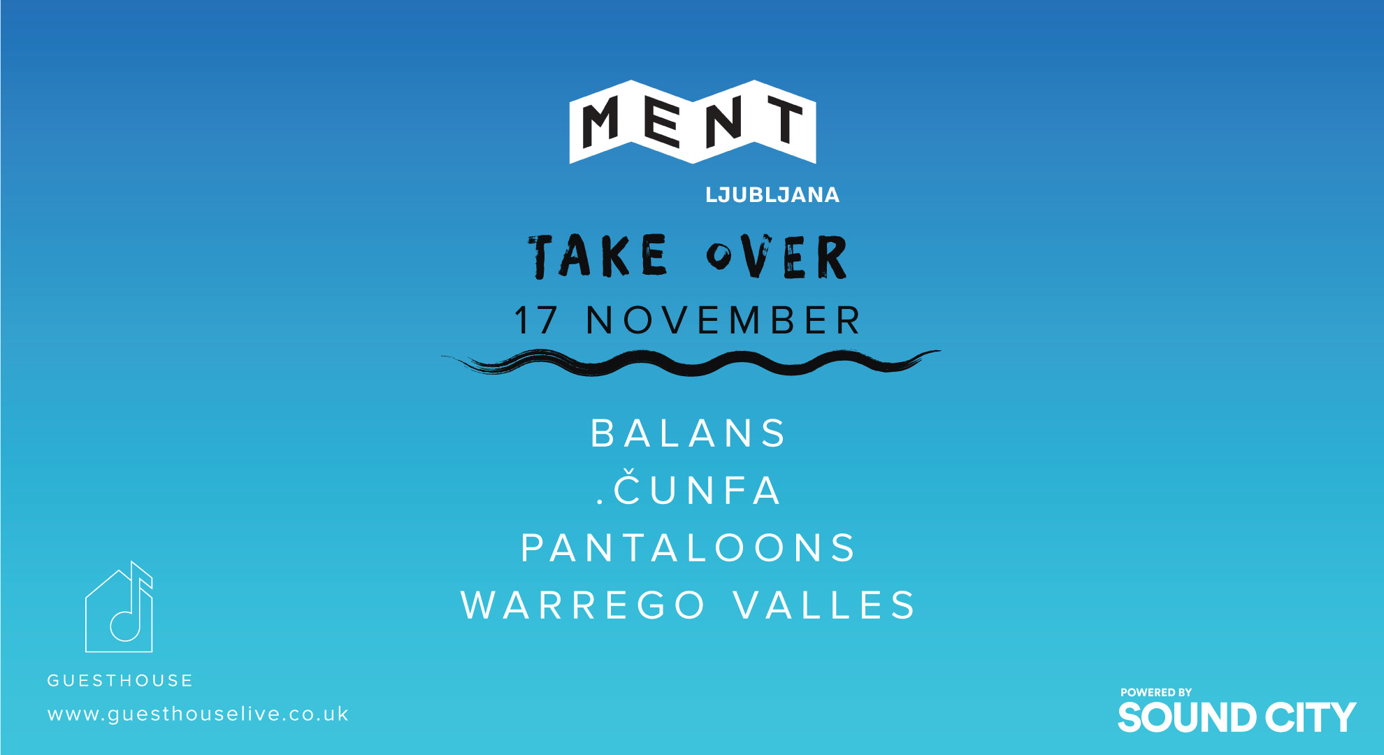 MENT take over poster for Liverpool Sound City