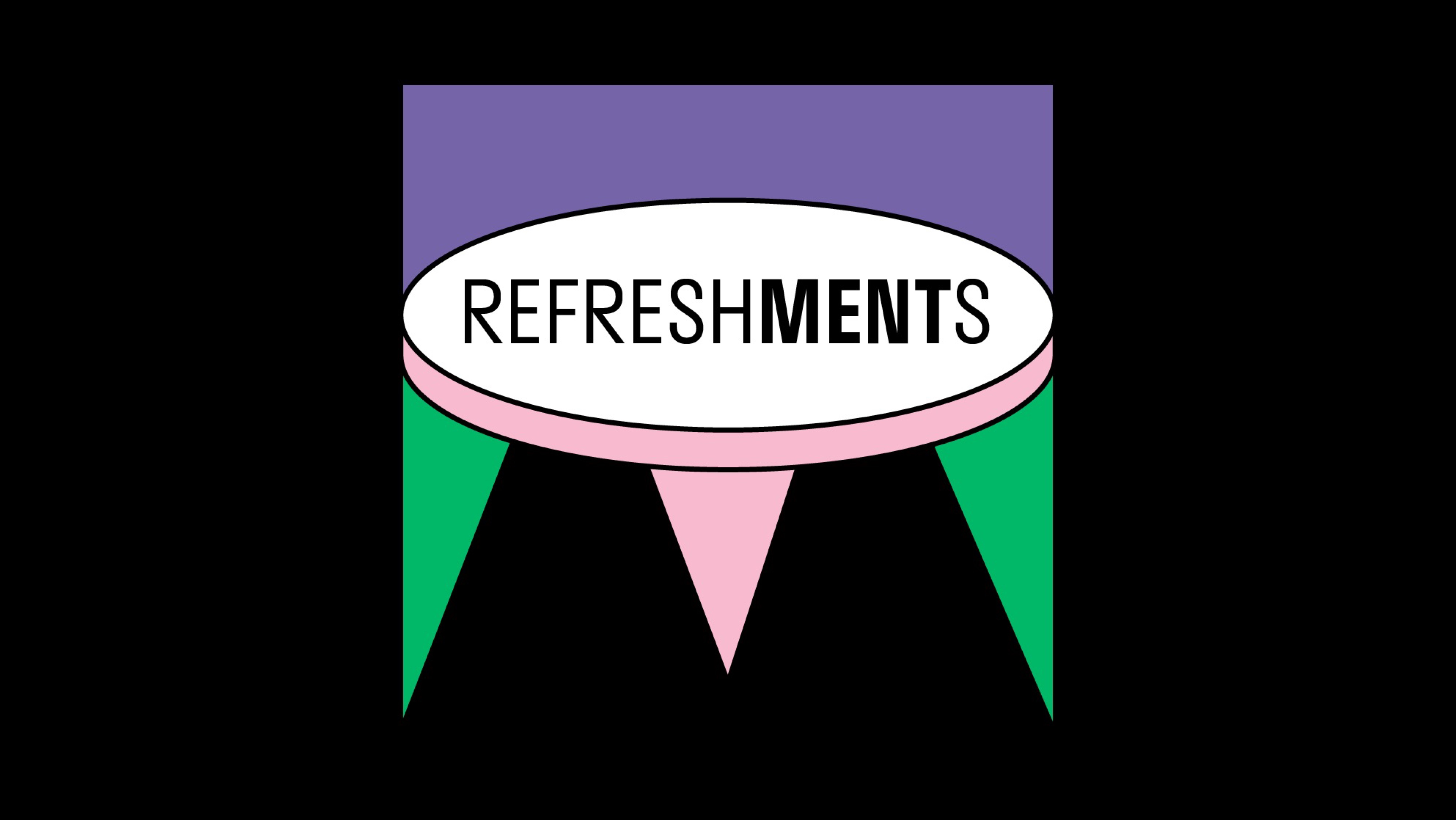 cover for the refreshments playlist - sign REFRESHMENTS and colors